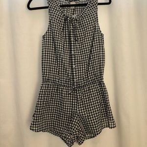 JCrew Navy & White gingham romper